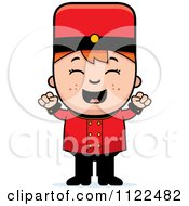 Cartoon Of A Red Haired Bellhop Hotel Boy Cheering Royalty Free Vector Clipart by Cory Thoman