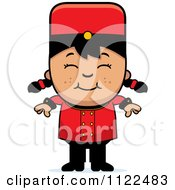 Cartoon Of An Asian Bellhop Hotel Girl Smiling Royalty Free Vector Clipart by Cory Thoman