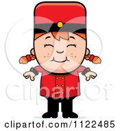 Cartoon Of A Red Haired Bellhop Hotel Girl Smiling Royalty Free Vector Clipart by Cory Thoman