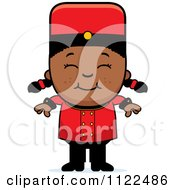 Cartoon Of A Black Bellhop Hotel Girl Smiling Royalty Free Vector Clipart by Cory Thoman