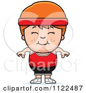 Cartoon Of A Happy Red Haired Fitness Gym Boy Royalty Free Vector Clipart