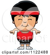 Cartoon Of A Happy Asian Fitness Gym Boy Royalty Free Vector Clipart by Cory Thoman
