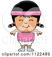 Cartoon Of A Happy Asian Fitness Gym Girl Royalty Free Vector Clipart by Cory Thoman