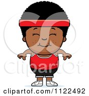 Cartoon Of A Happy Black Fitness Gym Boy Royalty Free Vector Clipart