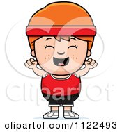Cartoon Of A Happy Red Haired Fitness Gym Boy Cheering Royalty Free Vector Clipart