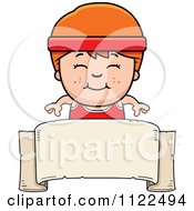 Cartoon Of A Happy Red Haired Fitness Gym Boy Over A Banner Sign Royalty Free Vector Clipart