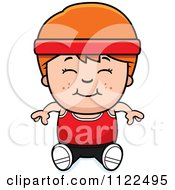 Cartoon Of A Happy Red Haired Fitness Gym Boy Sitting Royalty Free Vector Clipart