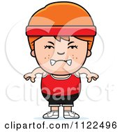 Cartoon Of An Angry Red Haired Fitness Gym Boy Royalty Free Vector Clipart