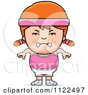 Cartoon Of An Angry Red Haired Fitness Gym Girl Royalty Free Vector Clipart