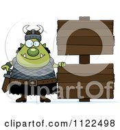 Chubby Ogre Man With A Wood Sign