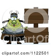 Chubby Ogre Woman With A Wood Sign