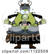 Cartoon Of A Chubby Scared Ogre Woman Royalty Free Vector Clipart