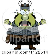 Cartoon Of A Chubby Scared Ogre Man Royalty Free Vector Clipart