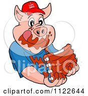 Cartoon Of A Pig Wearing A Hat And Eating Messy Ribs Royalty Free Vector Clipart