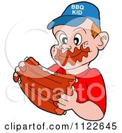 Cartoon Of A Happy Boy Eating Messy Bbq Ribs Royalty Free Vector Clipart by LaffToon
