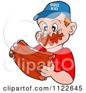 Happy Boy Eating Messy Bbq Ribs