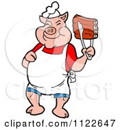 Cartoon Of A BBQ Pig Chef Holding Up Ribs With Tongs Royalty Free Vector Clipart