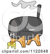 Cartoon Of A Bbq Smoker Grill With A Faucet Royalty Free Vector Clipart
