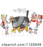 Cartoon Of A Chef Pig Holding Ribs And Waitress Holding Beer By A Smoker Royalty Free Vector Clipart