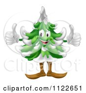 Clipart Of A Happy Christmas Or Evergreen Tree Mascot With Two Thumbs Up Royalty Free Vector Illustration by AtStockIllustration