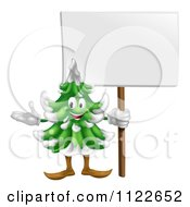 Clipart Of A Happy Christmas Or Evergreen Tree Mascot Holding A Sign Royalty Free Vector Illustration