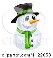Clipart Of A Happy Cute Snowman Wearing A Hat And Scarf Royalty Free Vector Illustration