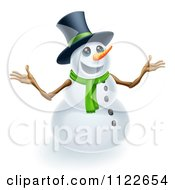 Clipart Of A Happy Cute Snowman Wearing A Top Hat And Scarf Royalty Free Vector Illustration
