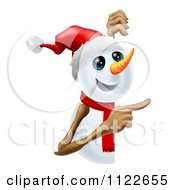 Clipart Of A Happy Cute Snowman Pointing To A Sign Royalty Free Vector Illustration