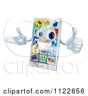 Clipart Of A 3d Happy Smart Cell Phone Mascot Holding A Thumb Up Royalty Free Vector Illustration