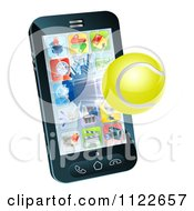 Clipart Of A 3d Tennis Ball Flying Through And Breaking A Cell Phone Screen Royalty Free Vector Illustration
