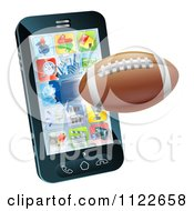 Clipart Of A 3d Football Flying Through And Breaking A Cell Phone Screen Royalty Free Vector Illustration