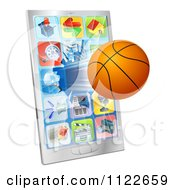 Clipart Of A 3d Basketball Flying Through And Breaking A Cell Phone Screen Royalty Free Vector Illustration