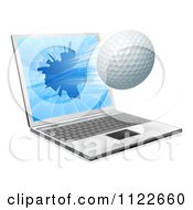 Clipart Of A Golf Ball Flying Through And Shattering A 3d Laptop Screen Royalty Free Vector Illustration