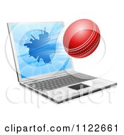Clipart Of A Cricket Ball Flying Through And Shattering A 3d Laptop Screen Royalty Free Vector Illustration by AtStockIllustration