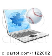 Clipart Of A Baseball Flying Through And Shattering A 3d Laptop Screen Royalty Free Vector Illustration