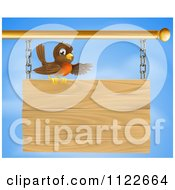 Clipart Of A Happy Robin Bird Presenting On A Wooden Sign Royalty Free Vector Illustration