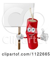 Clipart Of A Happy Dynamite Mascot Holding A Sign And A Thumb Up Royalty Free Vector Illustration