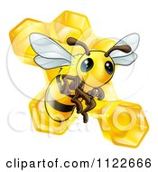 Clipart Of A Cute Bee And Honeycomb Royalty Free Vector Illustration by AtStockIllustration