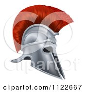Clipart Of A 3d Silver Trojan Spartan Helmet With A Red Mohawk Royalty Free Vector Illustration