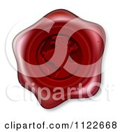 Clipart Of A 3d Red Wax Seal With An Embossed Globe Royalty Free Vector Illustration by AtStockIllustration