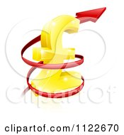 Clipart Of A 3d Red Spiraling Up Arrow Around A Golden Lira Pound Currency Symbol Royalty Free Vector Illustration by AtStockIllustration