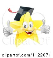 Clipart Of A 3d Star Graduate Mascot Holding Two Thumbs Up Royalty Free Vector Illustration
