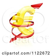 Clipart Of A 3d Arrow Spiraling Around A Golden Euro Currency Symbol Royalty Free Vector Illustration by AtStockIllustration