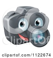 Clipart Of A Smiling Happy DSLR Camera Mascot Royalty Free Vector Illustration