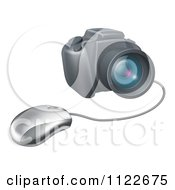 Clipart Of A Computer Mouse Connected To A DSLR Camera Royalty Free Vector Illustration by AtStockIllustration