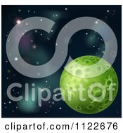 Clipart Of A Green Moon In Deep Space Royalty Free Vector Illustration