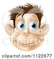 Clipart Of A Smiling Monkey Face Royalty Free Vector Illustration