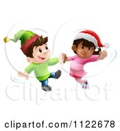 Clipart Of Happy Children Wearing Hats And Dancing To Christmas Music Royalty Free Vector Illustration