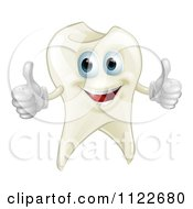 Clipart Of A Happy Tooth Mascot Holding Two Thumbs Up Royalty Free Vector Illustration by AtStockIllustration