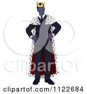 Clipart Of A Faceless Business King With Hands On His Hips Royalty Free Vector Illustration